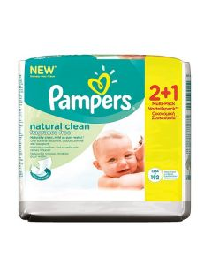 Pampers Baby Wipes Natural Clean fragrance free 3 x 64 wipes
