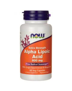 Now Alpha Lipoic Acid 600 mg Extra strenght w/Grape Seed extract & Bioperine 60 vcaps