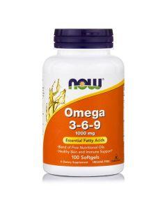 Now Omega 3-6-9 1000 mg Flax Primrose Canola Black Currant 100 softgels
