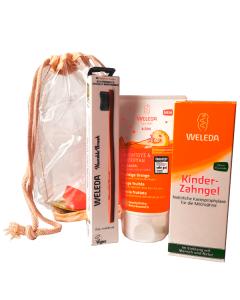 Weleda Kids 2 σε 1 Σαμπουάν Αφρόλουτρο Πορτοκάλι 150 ml & Οδοντόκρεμα για Παιδιά 50 ml & Δώρο οδοντόβουρτσα humble
