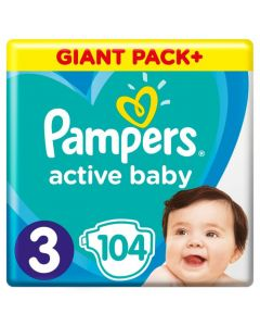 Pampers Active Baby Midi no3 (6-10 kg) 104 nappies