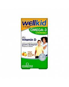 Vitabiotics Wellkid Omega-3 plus vitamin D 60 chewable caps orange flavour