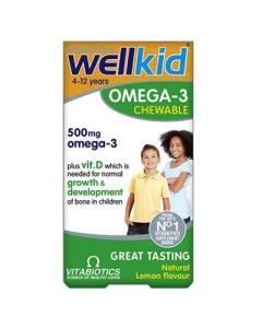 Vitabiotics Wellkid Omega 3 Chewable lemon flavour 60 caps